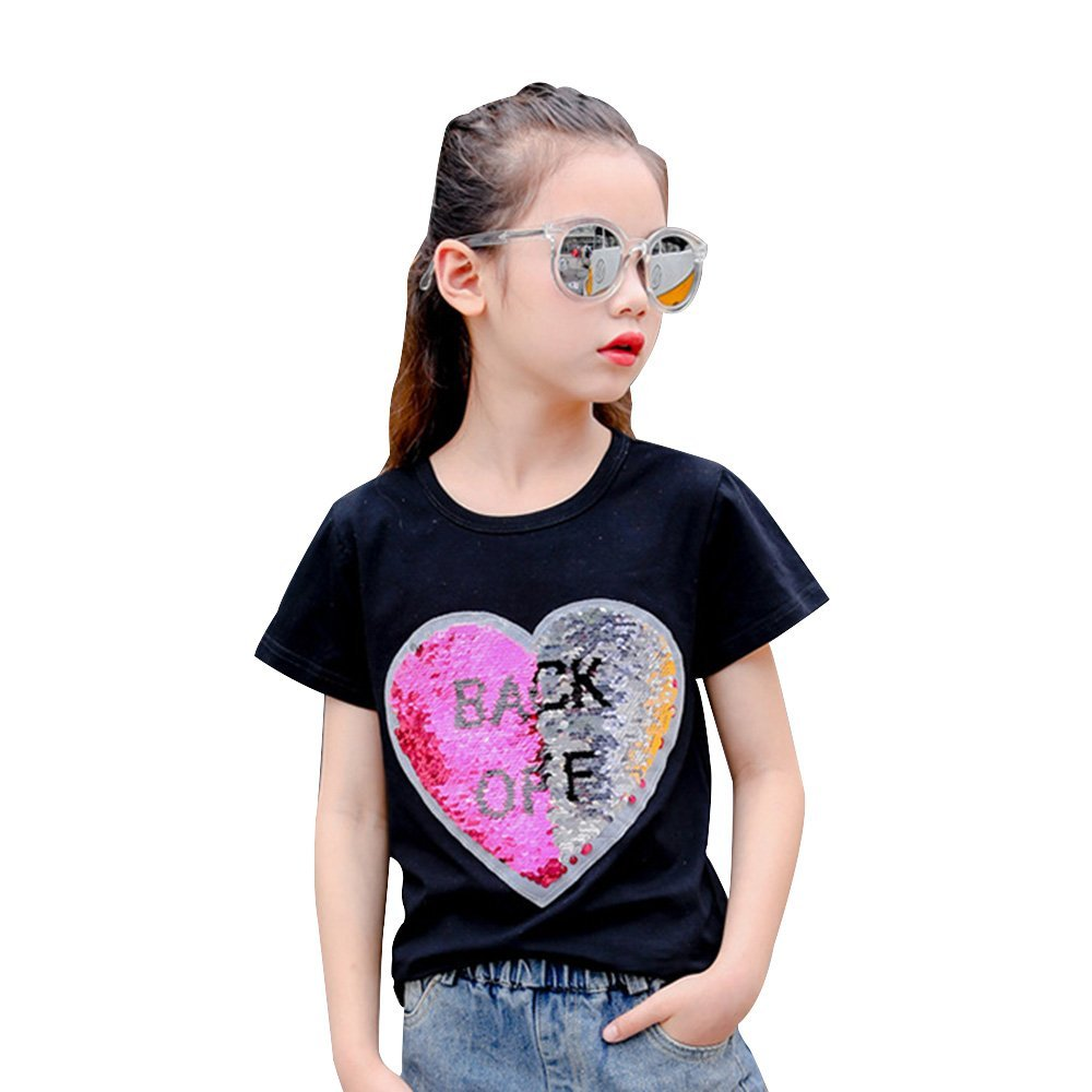 Happy Girls niña Manga Larga con Corona de Lentejuelas Reversible Camisetas, tops y blusas